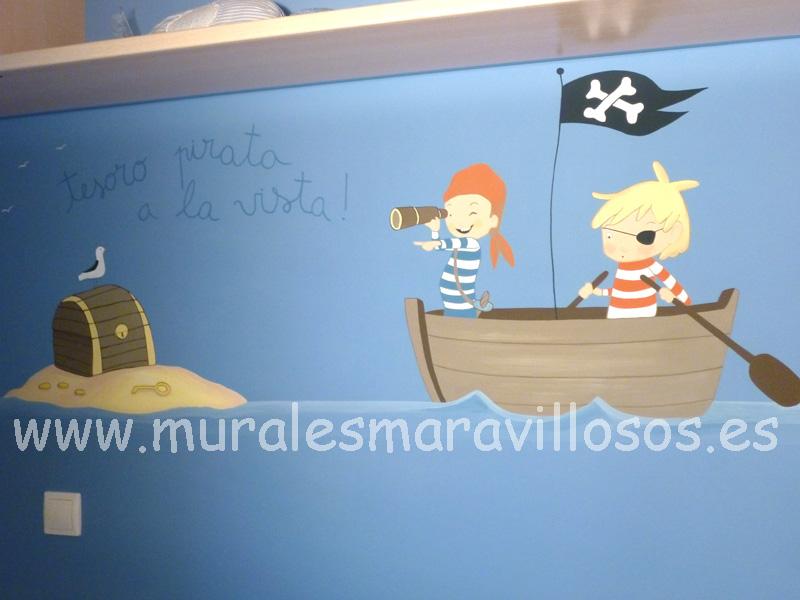 mural de piratas pared azul