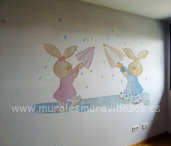 dormitorios infantiles pintura conejitos