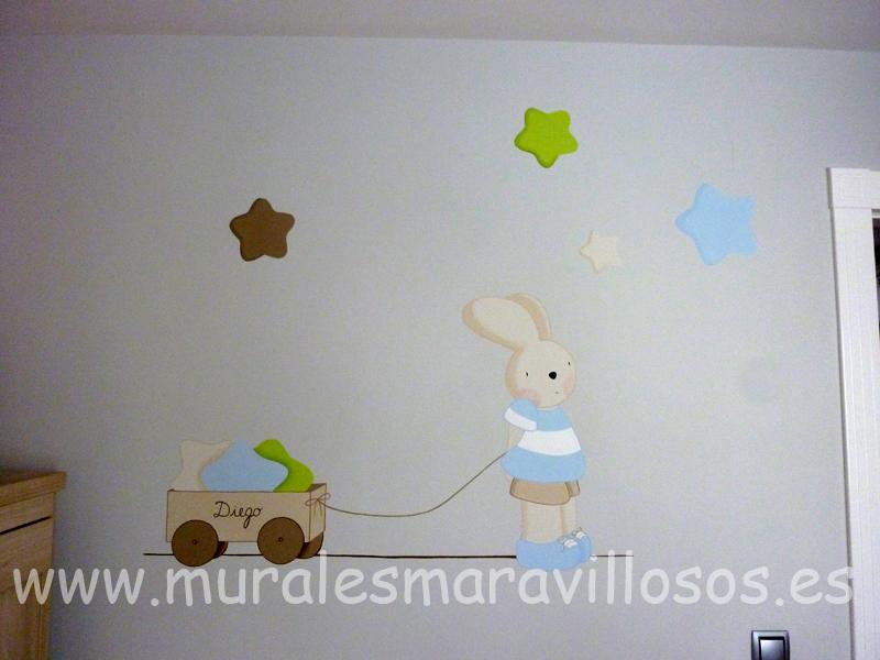 mural conejito con estrellas