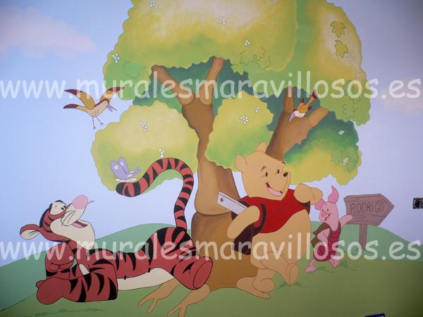 habitaciones infantiles winnie pooh y sus amigos con arbol