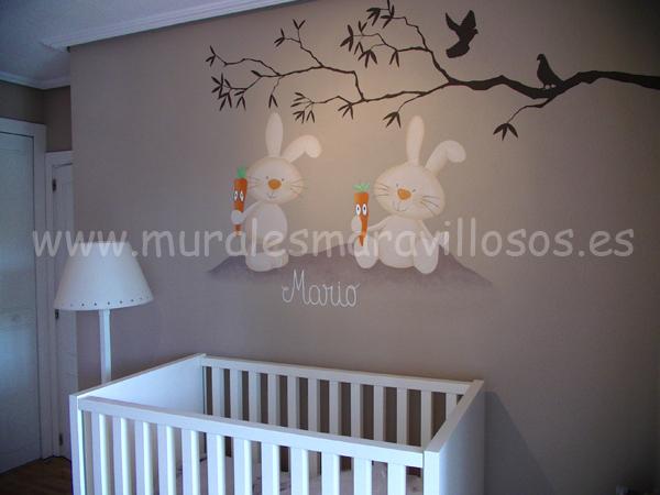 murales infantiles conejitos