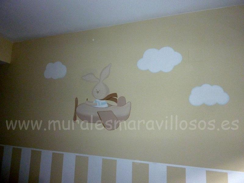 dormitorio mural conejito en avion