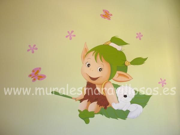 murales infantiles de duendes y duendecillos sobre paredes