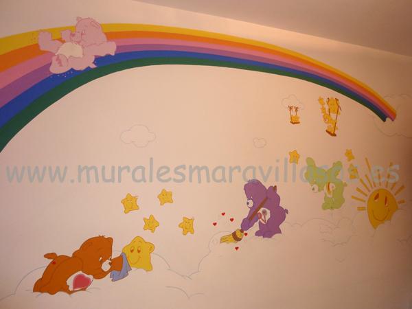 murales osos amorosos y arcoiris