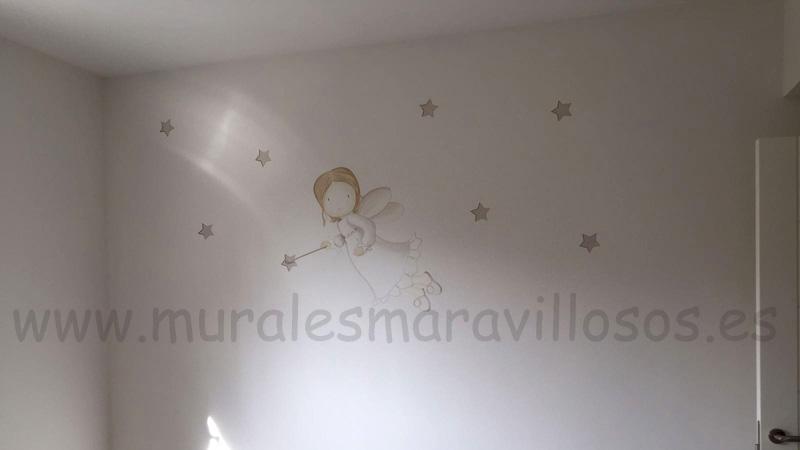 Murales de hadas y angeles con estrellas en cuartos de niña