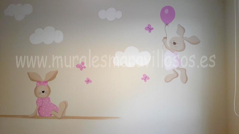 habitaciones infantiles con pintura conejitos globos y nubes