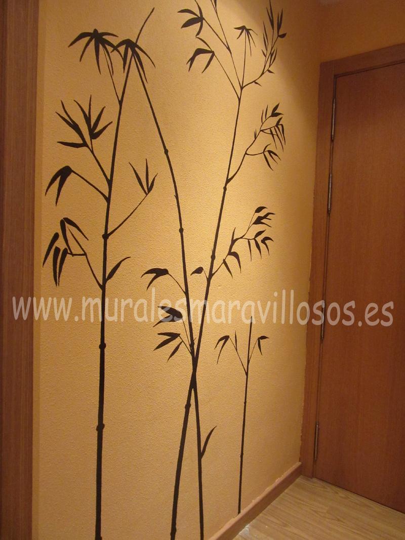 bambus pintados en paredes recibidor