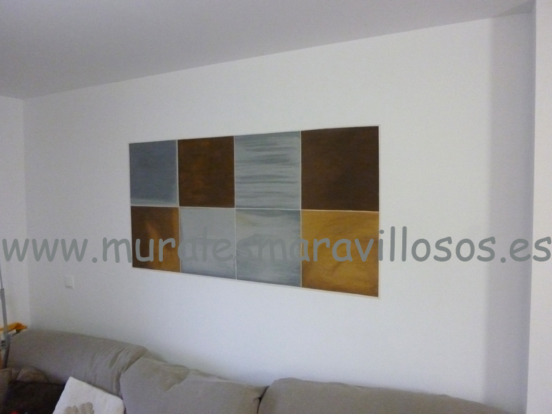 Trampantojo cuadro pintado pared salon