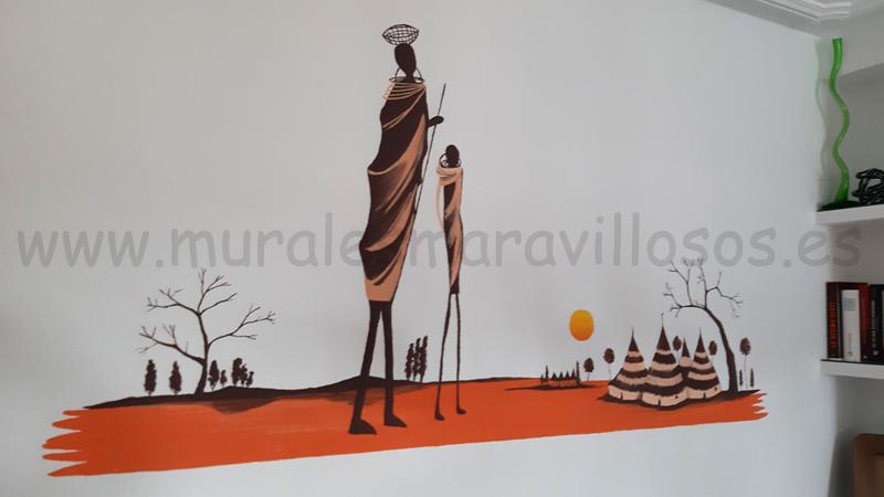murales etnicos africanos pintados paredes