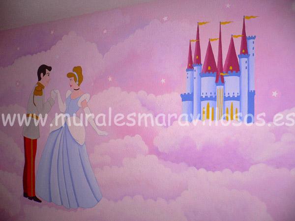 murales la cenicienta con castillo cuartos niña