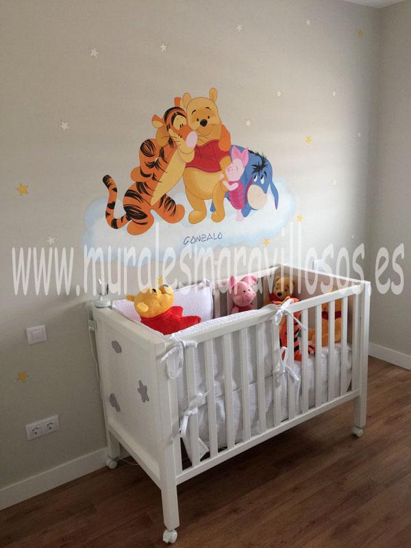 habitaciones bebes murales winnie the pooh
