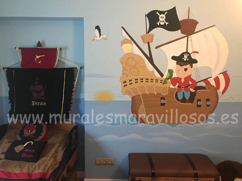murales infantiles con piratas y galeon