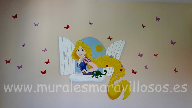 habitaciones con murales princesas rapuncel