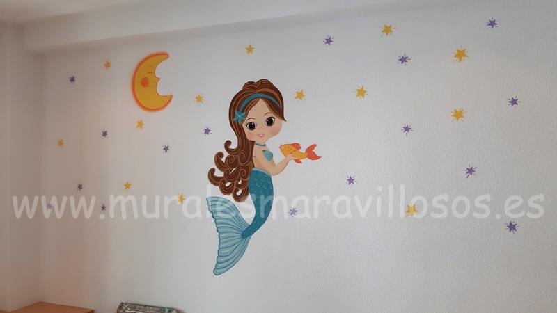 Cuartos de niñas con sirenas en paredes