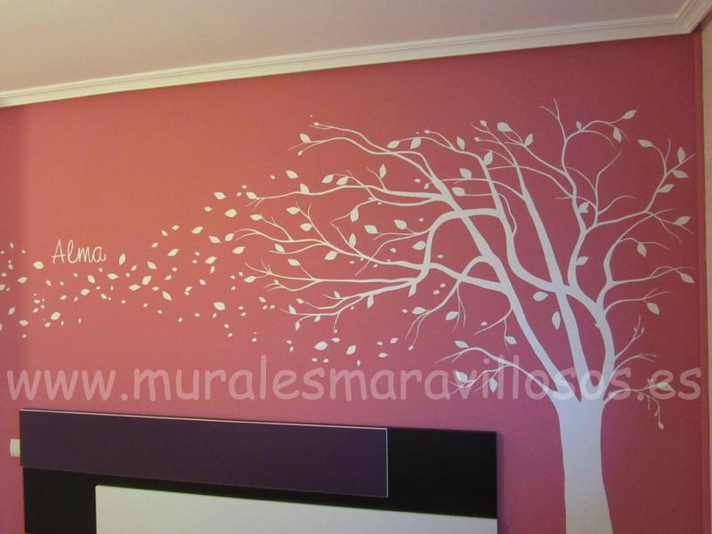 murales pintados paredes cabeceros dormitorios arboles