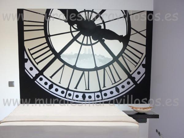murales pintados dormitorios reloj orsay