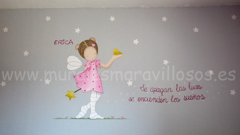 decoracion con murales de hadas