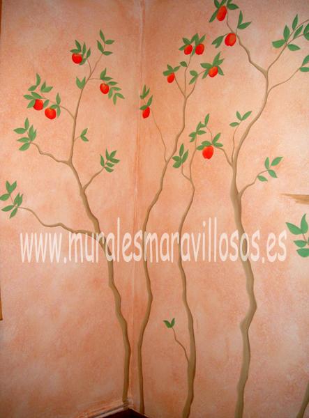 murales de áboles manzano