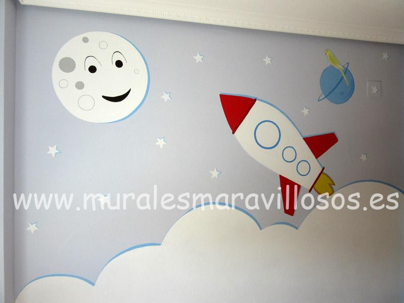 habitaciones con murales del espacio