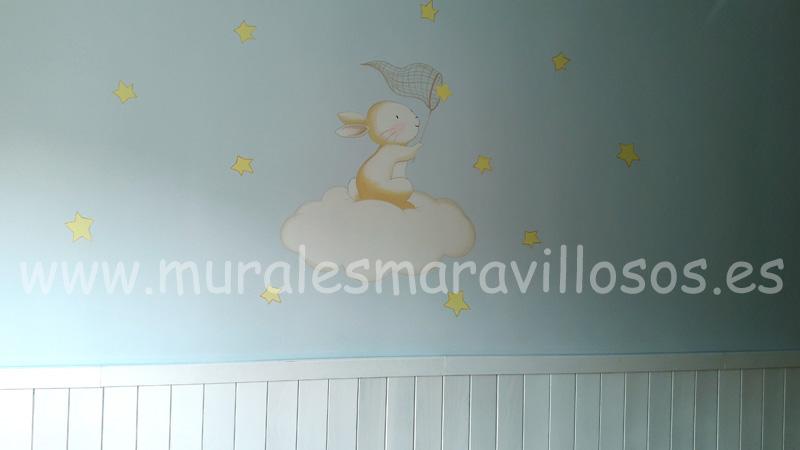 mural conejito nube estrellas pared celeste