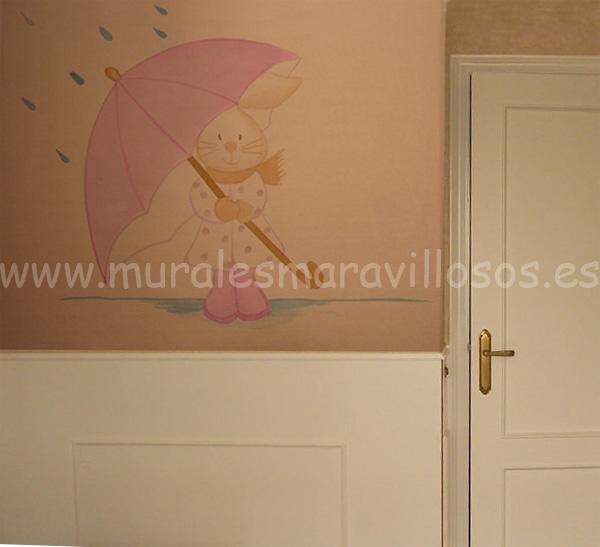murales conejitos lluvia