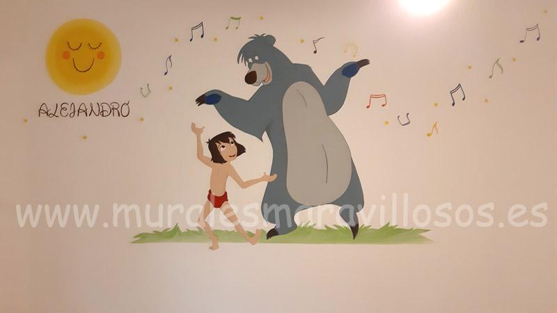 murales el libro de la selva en habitaciones infantiles