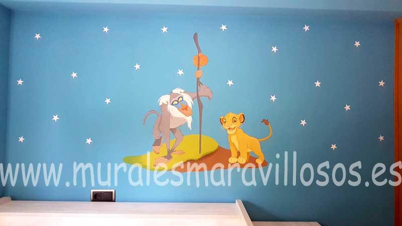 habitaciones infantiles azules rey leon