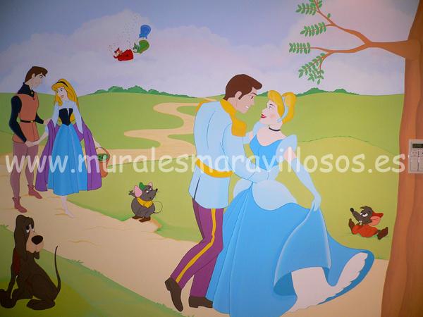 murales de princesas disney cuartos de niña