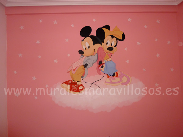 murales mickey minnie paredes rosas