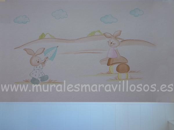 mural con dos conejitos