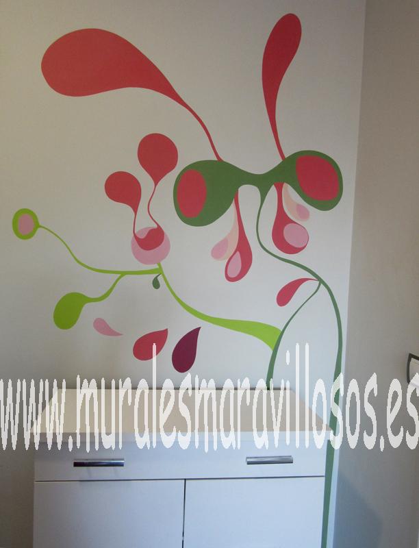 murales colores ramas paredes
