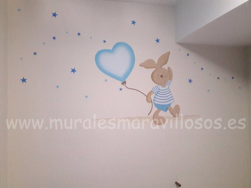 mural conejito globo estrellas