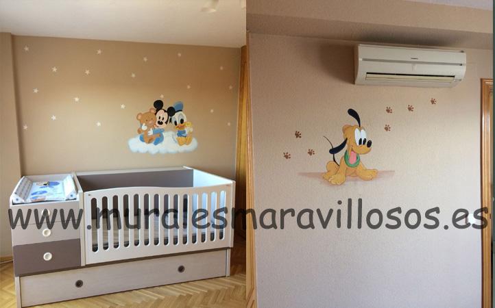 habitaciones para bebes pluto mickey donald