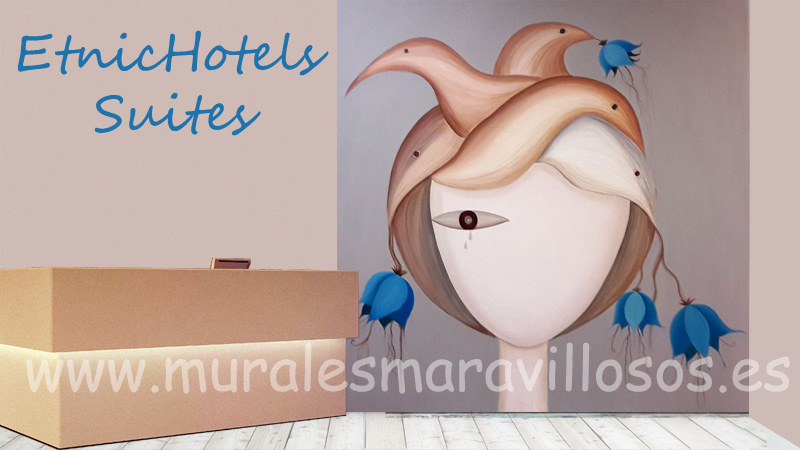 MURALES pintados en hoteles recepciones