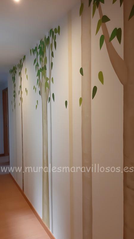 murales arboles pintura pasillos
