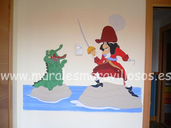 capitan garfio y cocodrilo murales infantiles