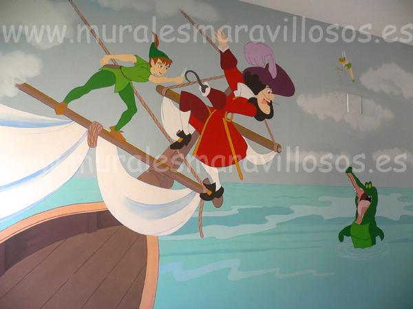 murales peter pan y garfio piratas