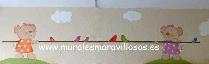 murales infantiles dos ratoncitos