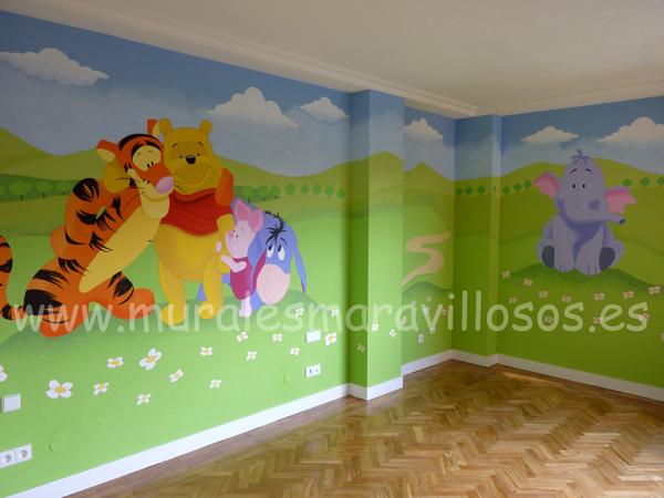 murales infantiles winnie pooh en habitaciones infantiles