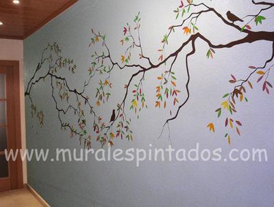 ramas arboles murales pasillos