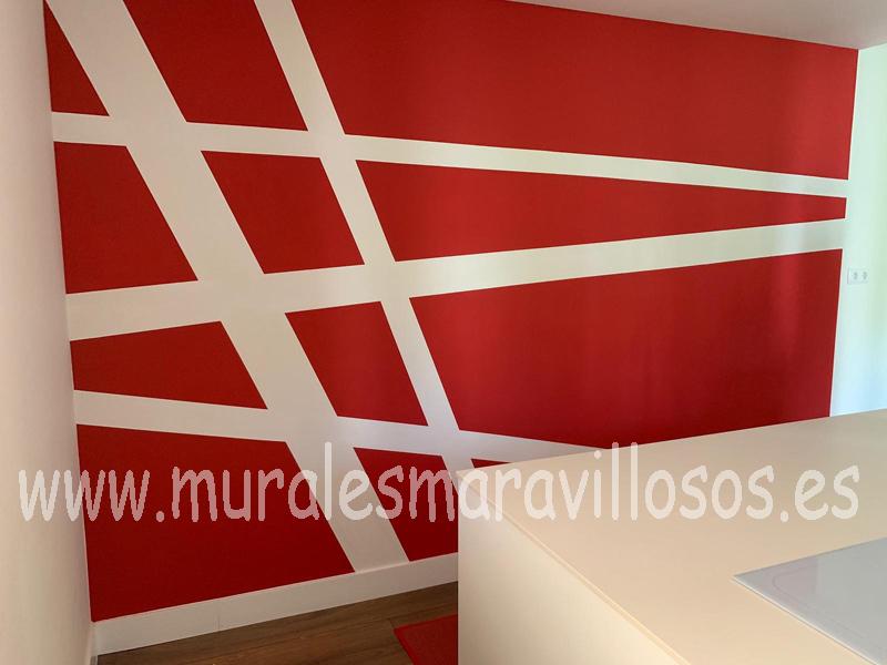 pinturas geometricas rayas paredes cocinas