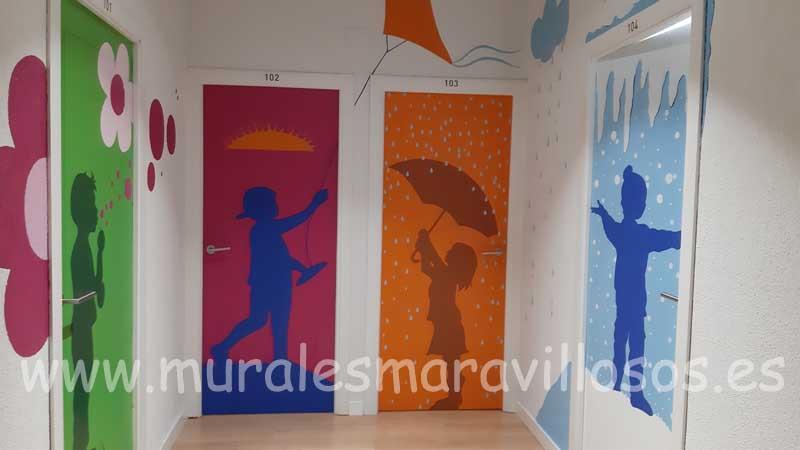 puertas pintadas colegios y hospitales motivos infantiles