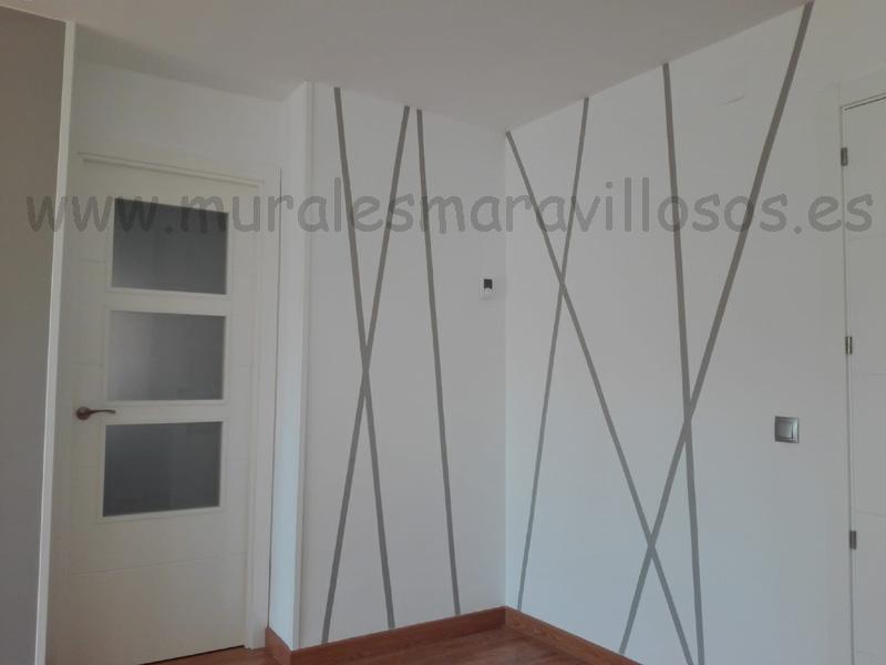 pintura original salones rayas grises