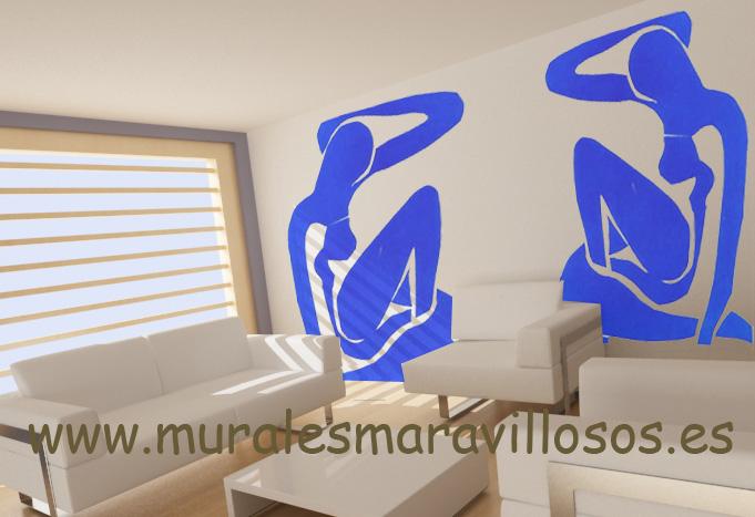 siluetas azules pintadas murales salones