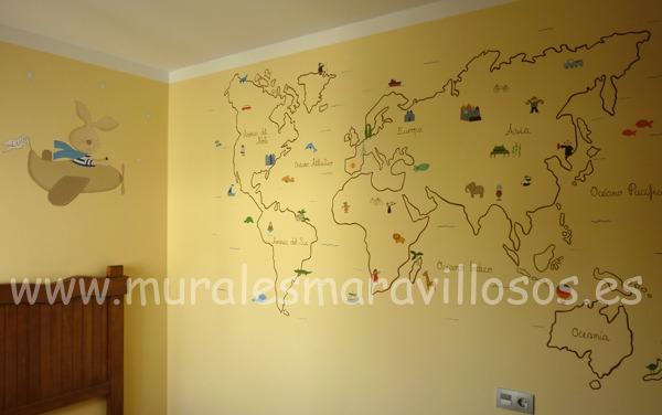 murales infantiles mapamundis