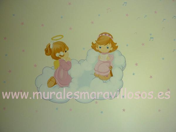 habitaciones con murales infantiles angelitos