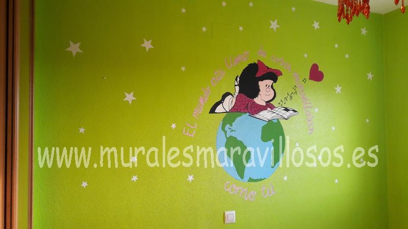 habitaciones con murales infantiles mafalda
