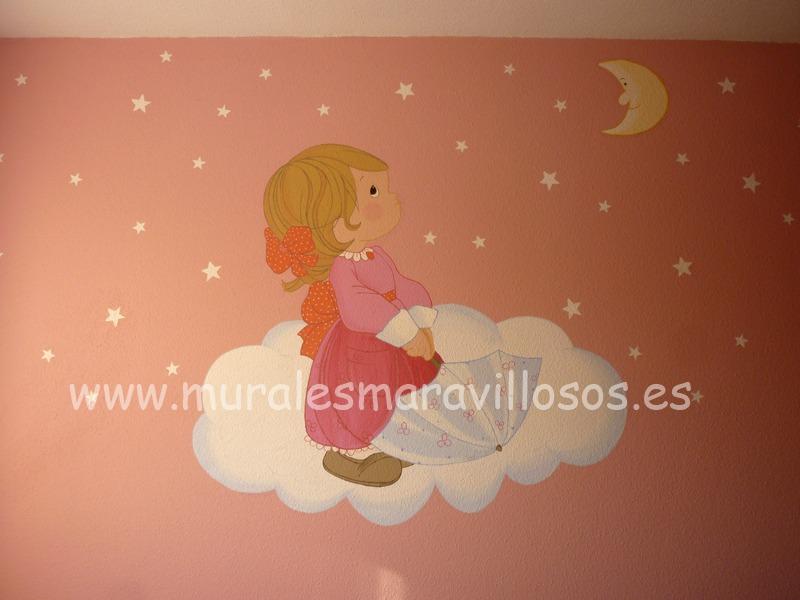 murales pintados niñas con paraguas paredes rosas