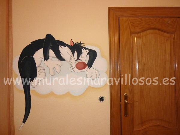 gato silvestre mural infantil pintura pared