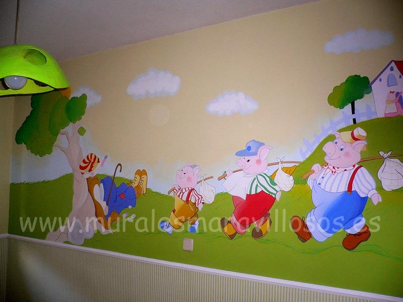 habitaciones con murales infantiles tres cerditos